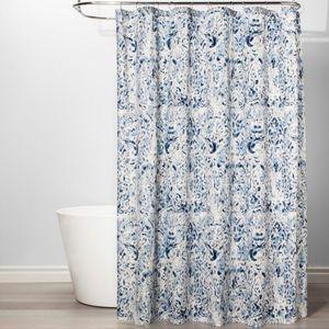 THRESHOLD Blue Cream Print Shower Curtain
